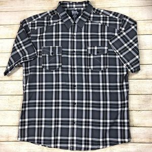 Blue Gear BG 4XL Gray Plaid Short Sleeve Shirt